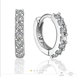 Jewelry - Brand New 925 Sterling Silver  CZ Small Hoops